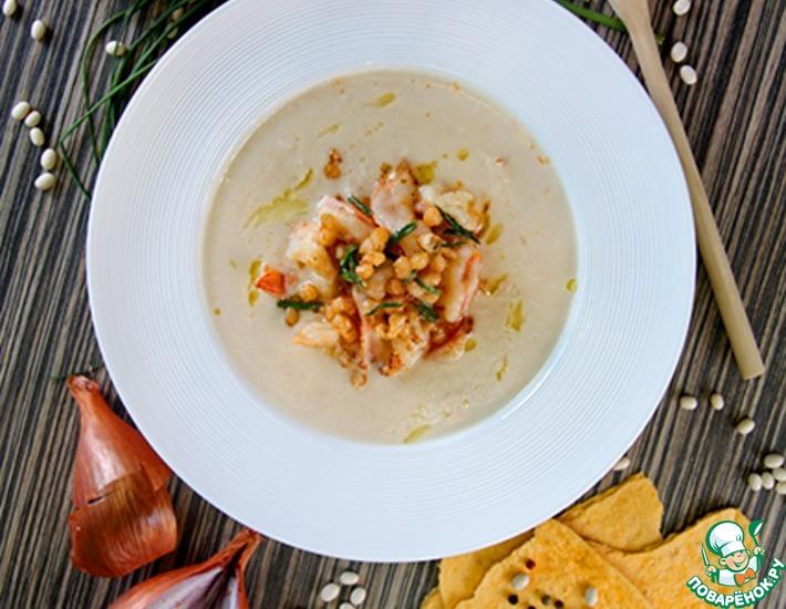 Рецепт: Фасолевый суп с тигровыми креветками