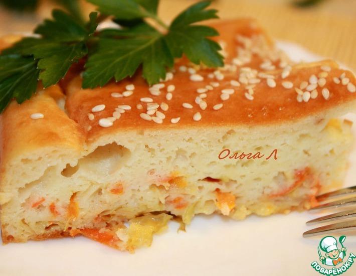 Рецепт: Наливной пирог с квашеной капустой