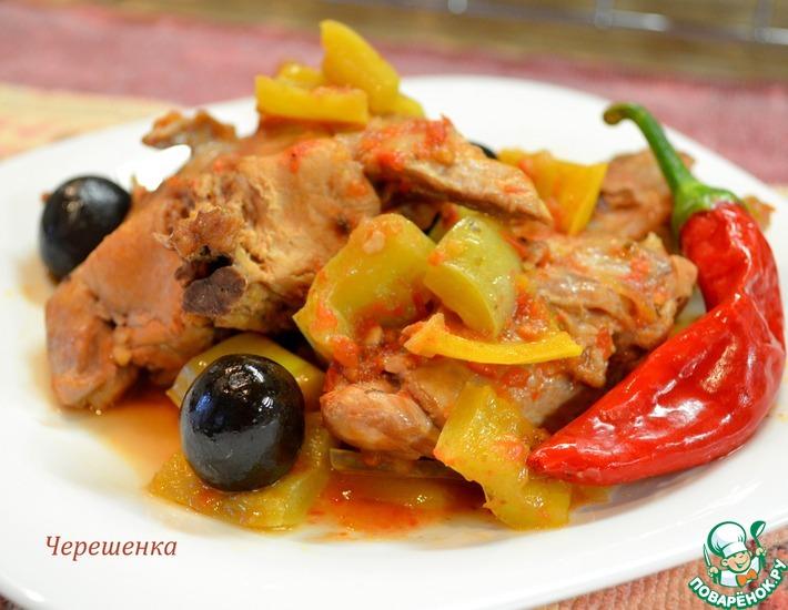 Рецепт: Тушеный кролик с перцем и маслинами