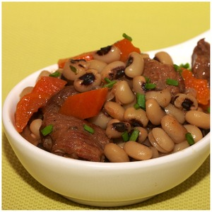Baked beans with beef from the slow cooker