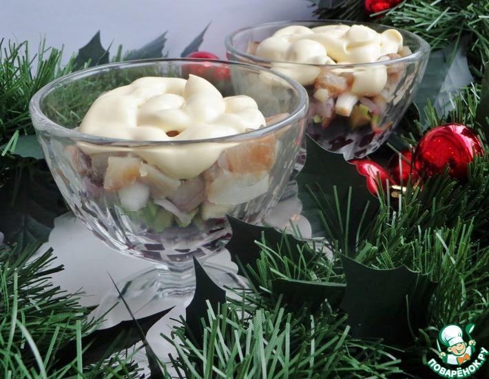 Рецепт: Закуска из свёклы, авокадо и сельди