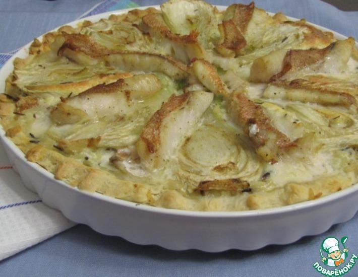 Рецепт: Открытый пирог с морским окунем, фенхелем и рисом