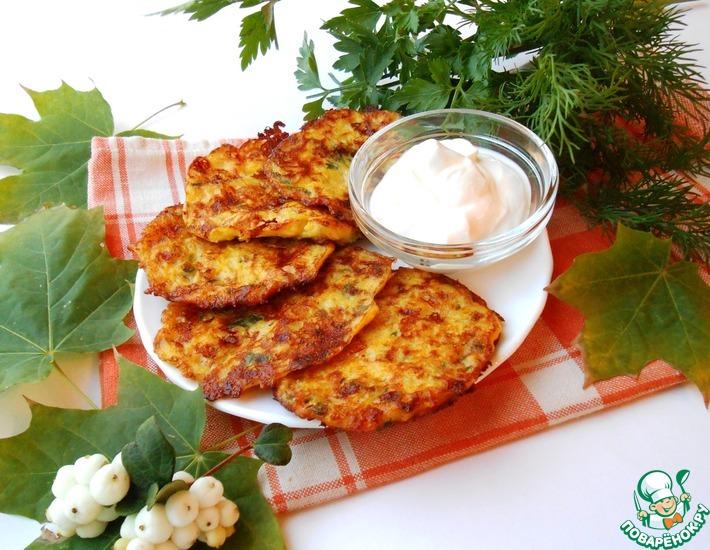Рецепт: Пикантные тыквенные оладьи с сыром