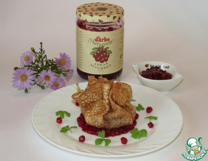 Рецепт: Блинчики с паштетом из гусиной печени и соусом от D'arbo