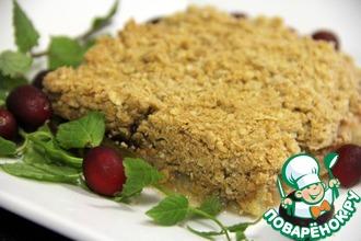 Рецепт: Хрустящий яблочный пирог с брусничным соусом