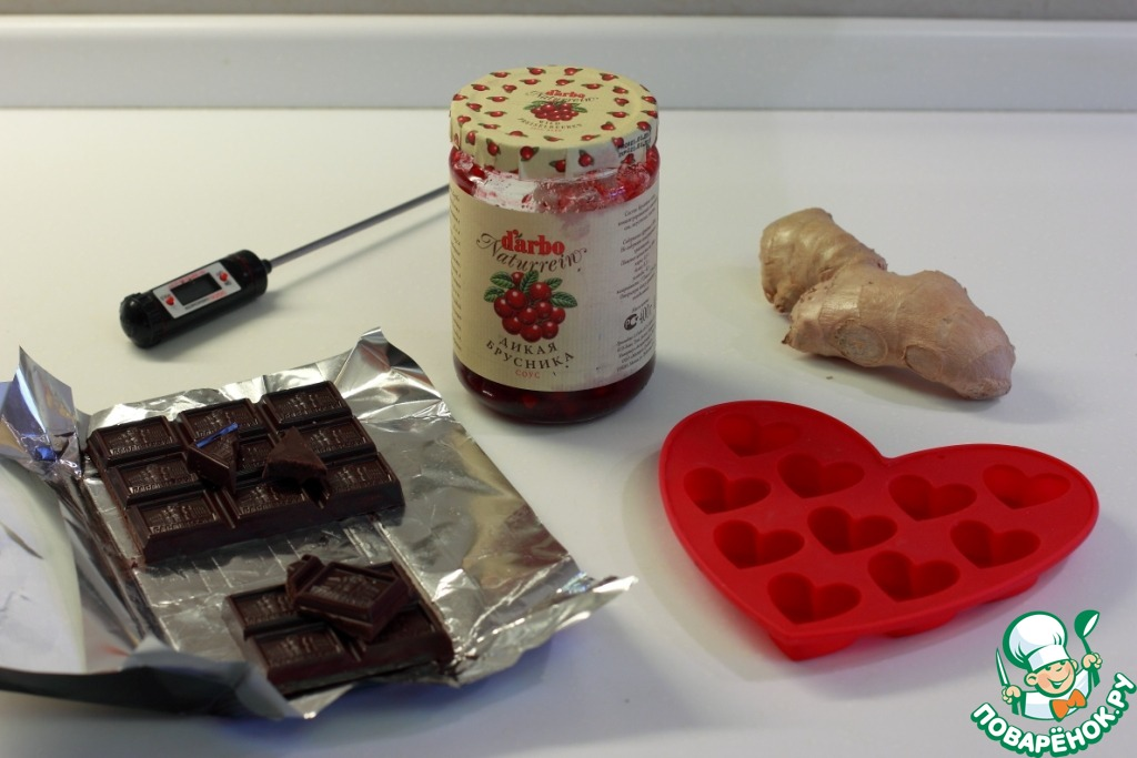 Домашние конфеты с бруснично-имбирной начинкой