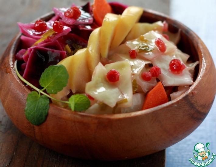 Рецепт: Быстрая маринованная капуста с брусникой