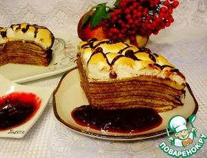 Рецепт Блинный пирог с брусничным соусом