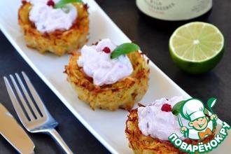 Рецепт: Картофельные корзинки с лососем