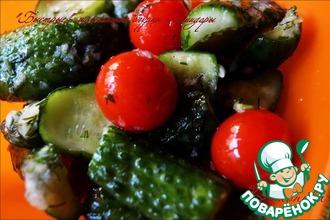 Рецепт: Быстрые малосольные огурцы и помидоры