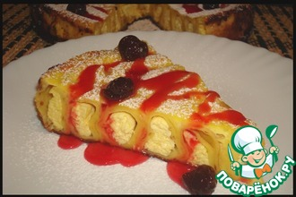 Рецепт: Блинный пирог с творогом