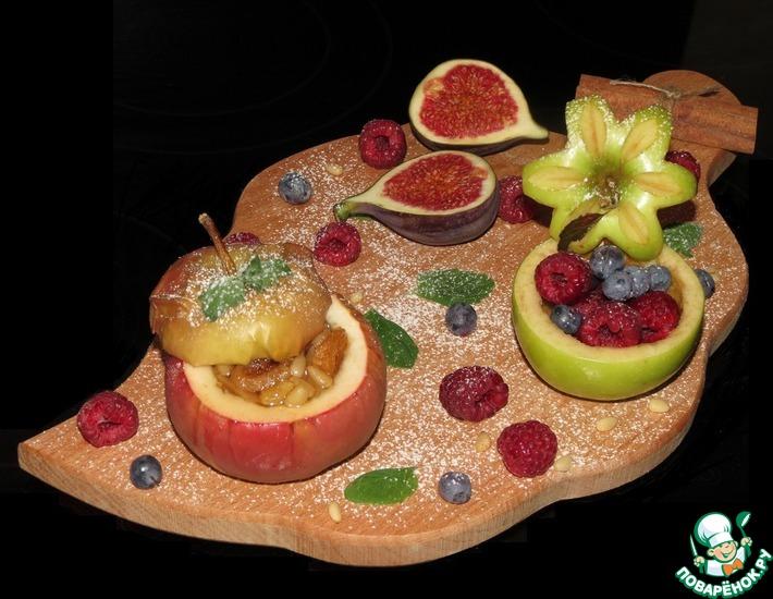 Рецепт: Печеные яблоки с сухофруктами и кедровыми орешками