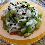 Салат с дайконом и сельдереем под ряженкой
