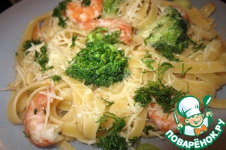 Рецепт: Паста с креветками и брокколи