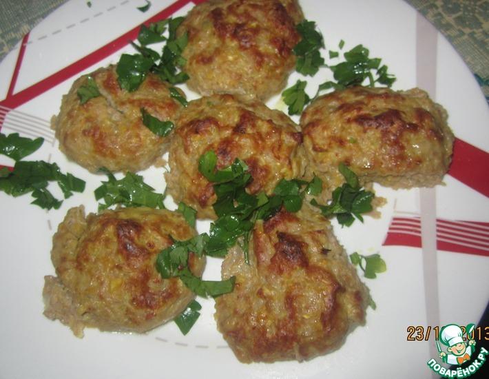 Рецепт: Запеченные куриные котлетки с тыквой