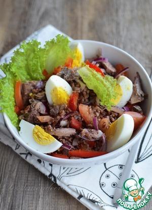 Рецепт Салат с тунцом и красным рисом