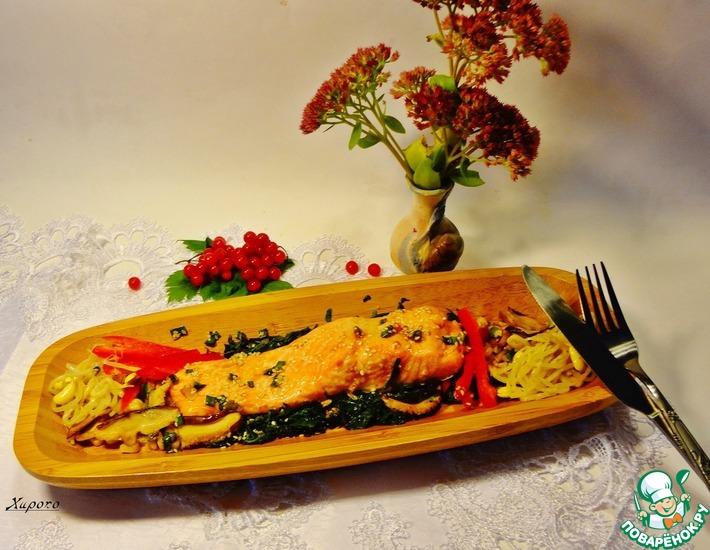 Рецепт: Сёмга в кунжутно-соевом соусе