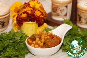 Beef goulash with chickpeas and vegetables from the slow cooker
