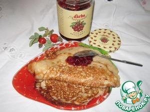 Рецепт Овсяные заварные блины с ягодным соусом