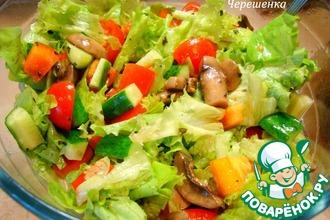 Рецепт: Овощной салат с зеленью и шампиньонами
