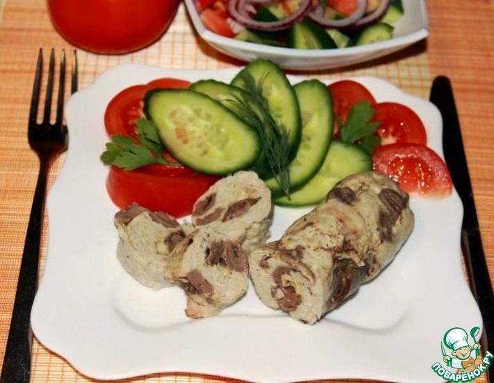 Рецепт: Куриные колбаски с сердечками и сыром