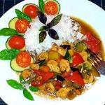 Овощи с курицей в устричном соусе