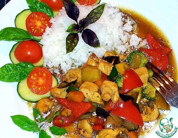 Рецепт: Овощи с курицей в устричном соусе