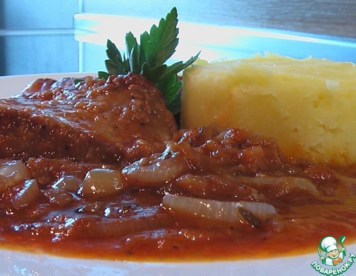 Рецепт: Свинина в луковом соусе