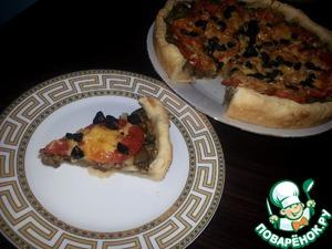 """Рецепт Пирог с баклажанами или а-ля """"Вегетарианская пицца """""""