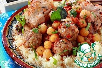 Рецепт: Курица с нутом и мясными шариками
