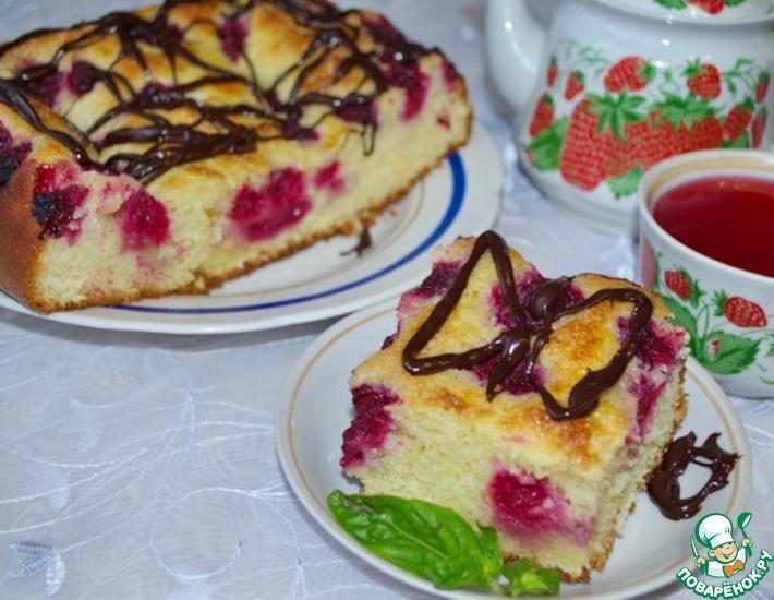 Рецепт: Дрожжевой пирог с малиной Без хлопот