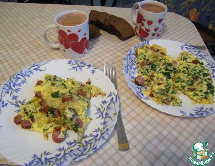 Рецепт: Омлет с капустой и сосисками