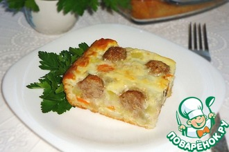 Рецепт: Пирог с рисом, овощами и фрикадельками