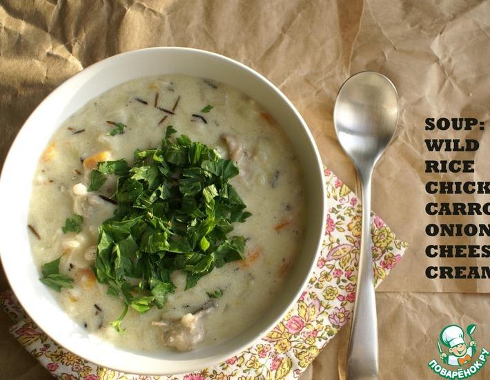 Рецепт: Куриный сливочный суп с диким рисом
