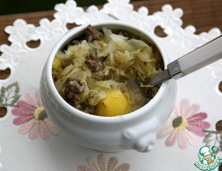 Рецепт: Айнтопф из капусты, картофеля и фарша