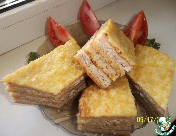 Рецепт: Слоеный сырный пирог с куриным фаршем