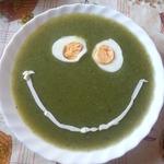 Суп-пюре со шпинатом и зеленым горошком