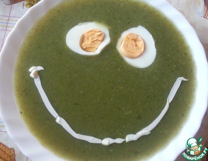 Рецепт: Суп-пюре со шпинатом и зеленым горошком