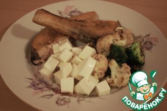 Рецепт: Стейк из семги с овощами