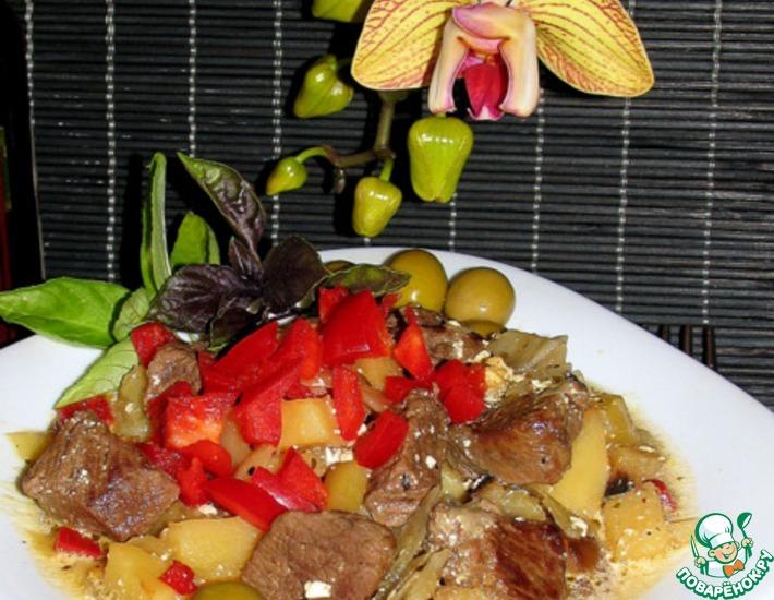Рецепт: Баранина с овощами в горшочке