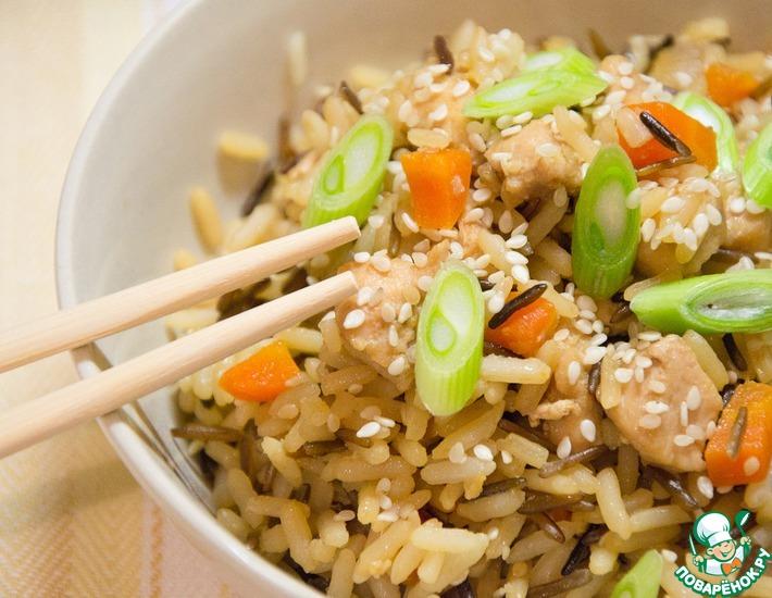 Рецепт: Чесночный рис с курицей