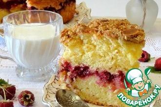 Рецепт: Малиновый пирог со штрейзелем