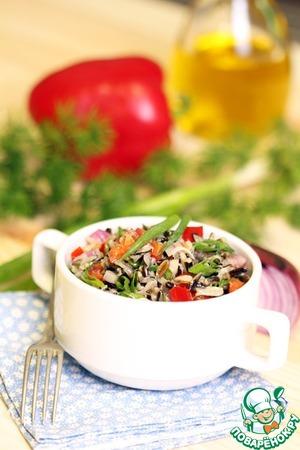 Рецепт: Салат из дикого риса и зеленого лука