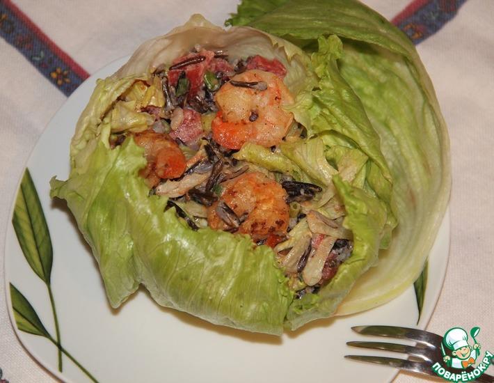Рецепт: Салат Дикий и острый или просто креветки с диким рисом