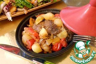 Рецепт: Ребрышки с овощами в мини-тажинах