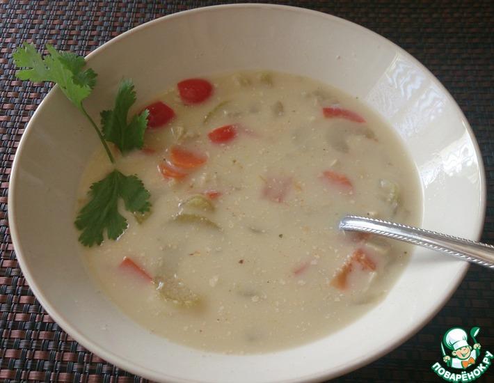 Рецепт: Суп сливочный грибной с овощами