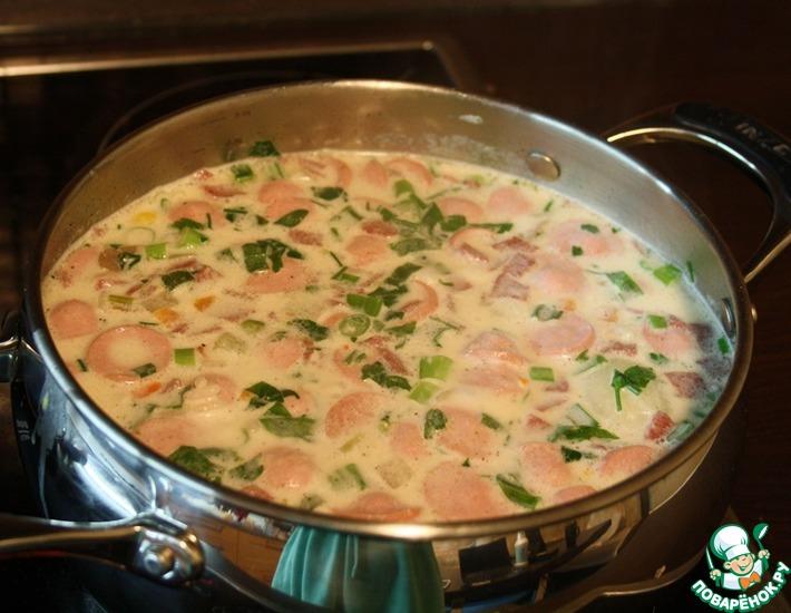 Рецепт: Быстрый сливочный суп с шампиньонами