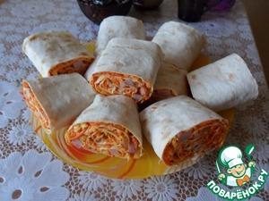 Рецепт Рулет из лаваша с морковью по-корейски