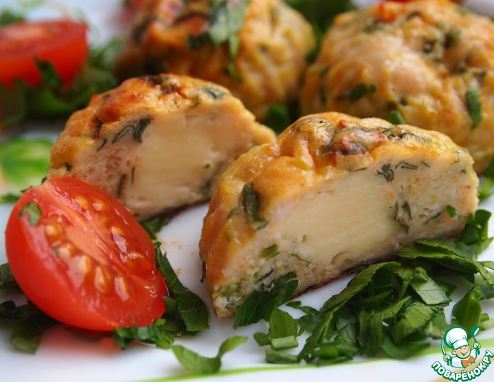 Рецепт: Курино-овощные шарики с сыром