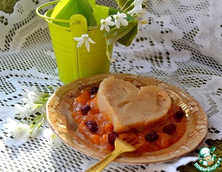 Рецепт: Яблочный пудинг под абрикосовым джемом